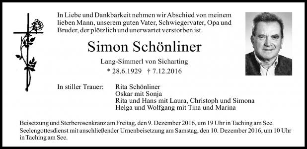 Simon Schönliner, Sicharting